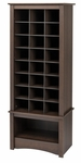 Multi-Purpose 61.25''H Shoe Cubbie Cabinet with 24 Cubbies and Large Open Storage Area - Espresso [EUSR-0008-1-FS-PP]
