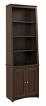 Slant-Back 26.25''W Bookcase with 2 Shaker Doors and 3 Adjustable Shelves - Espresso [ESBH-0002-1-FS-PP]