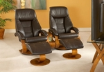 Oslo Set of 2 Top Grain Leather Swivel Recliner and Ottoman with 1 Theater Table - Espresso [58-LO3-40-103-TT-103-CTC-FS-MAC]