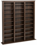 Triple Width Barrister Tower with 27 Adjustable Shelves - Espresso [EMB-1200-K-FS-PP]