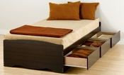 Mate's Twin Size Platform Storage Bed with 3 Drawer Storage - Espresso