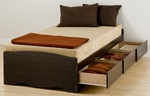 Mate's Twin XL Size Platform Storage Bed with 3 Drawer Storage - Espresso [EBX-4105-K-FS-PP]