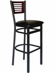 Espy Metal Frame Barstool - Slotted Wood Back and Vinyl Seat [2151BBLV-SB-BFMS]
