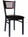 Espy Metal Frame Chair - Slotted Wood Back and Vinyl Seat [2151CBLV-SB-BFMS]