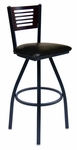 Espy Metal Frame Swivel Barstool - Slotted Wood Back and Vinyl Seat [2151SBLV-SB-BFMS]