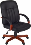 Ethos Height Adjustable Swivel Chair - Black Leather with Cherry Accents [1050CH-FS-REG]