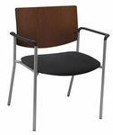 Ex Wide Guest Stacking Chair with Arms-Grade 1 Upholstered Seat and a Chocolate Wood Back [WD1311SL-SP20-GR1-IFK]