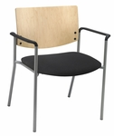 Ex Wide Guest Stacking Chair with Arms-Grade 3 Upholstered Seat and a Natural Wood Back [WD1311SL-SP22-GR3-IFK]