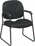 Work Smart Visitors Chair with Black Finish Sled Base and Armrests [EX3302-FS-OS]