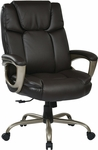 Work Smart 350 lb Weight Capacity Executive Big Man's Eco Leather Chair - Espresso [ECH12801-EC1-FS-OS]
