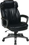 Work Smart Executive Eco Leather Chair with Built-In Adjustable Headrest - Black [ECH85807-EC3-FS-OS]