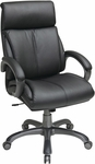 Work Smart Executive Eco Leather Chair with Locking Tilt Control and Titanium Coated Base - Black [ECH68807-EC3-FS-OS]