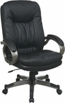 Work Smart Executive Bonded Leather Office Chair with Padded Arms and Titanium Coated Frame - Black [ECH83507-EC3-FS-OS]