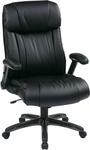 Work Smart Executive Eco Leather Chair with Titanium Coated Base - Black [ECH38675A-EC3-FS-OS]