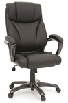 Leather Upholstered Adjustable Executive Chair with Casters - Black [412186-FS-SRTA]