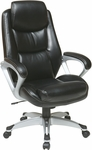 Work Smart Executive Eco Leather Chair with Padded Arms,Headrest and Silver Coated Base - Black [ECH89186-EC3-FS-OS]