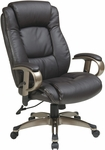 Work Smart Executive Eco Leather Chair with Height Adjustable Padded Arms and Coated Base - Espresso [ECH52661-EC1-FS-OS]