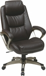 Work Smart Executive Eco Leather Chair with Padded Arms and Cocoa Coated Base - Espresso [ECH89181-EC1-FS-OS]