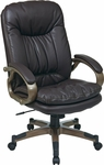 Work Smart Executive Bonded Leather Office Chair with Padded Arms and Cocoa Coated Frame - Espresso [ECH83501-EC1-FS-OS]