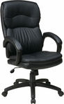 Work Smart Executive High Back Eco Leather Chair with Padded Arms and Casters - Black [EC9230-EC3-FS-OS]