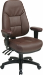 Work Smart Executive High Back Ergonomic Office Chair with Padded Contour Seat and Lumbar Support - Burgundy [EC4300-EC4-FS-OS]
