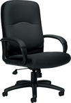 Executive Leather Chair with Fixed Molded Arms & Padded Armrests - Black Leather [OTG11617B-BL20-FS-GLO]