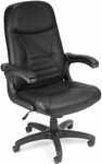 Mobile Arm Leather Executive Conference Mobile Chair - Black [550-L-BLACK-FS-MFO]