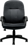 Executive Leather Managers Chair with Fixed Molded Arms - Black [OTG11616B-BL20-FS-GLO]