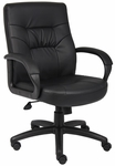 Executive Leather Mid Back Swivel Chair with Padded Armrests - Black [B7506-FS-BOSS]