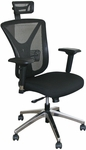 Fermata Executive Mesh Chair with Aluminum Base and Headrest - Black Fabric [WMCEXBA-H-FS-MVL]
