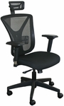 Fermata Executive Mesh Chair with Black Base and Headrest - Black Fabric [WMCEXBB-H-FS-MVL]