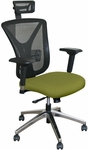 Fermata Executive Mesh Chair with Aluminum Base and Headrest - Fennel Fabric [WMCEXFA-H-5826-FS-MVL]