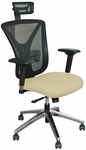 Fermata Executive Mesh Chair with Aluminum Base and Headrest - Forsythia Fabric [WMCEXFA-H-5822-FS-MVL]