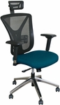 Fermata Executive Mesh Chair with Aluminum Base and Headrest - Iris Fabric [WMCEXFA-H-5820-FS-MVL]