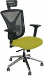 Fermata Executive Mesh Chair with Aluminum Base and Headrest - Lime Fabric [WMCEXFA-H-F6561-FS-MVL]