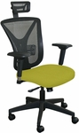 Fermata Executive Mesh Chair with Black Base and Headrest - Lime Fabric [WMCEXFB-H-F6561-FS-MVL]