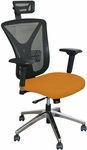 Fermata Executive Mesh Chair with Aluminum Base and Headrest - Orange Fabric [WMCEXFA-H-F6551-FS-MVL]