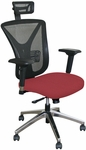 Fermata Executive Mesh Chair with Aluminum Base and Headrest - Raspberry Fabric [WMCEXFA-H-F6557-FS-MVL]