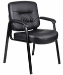 Executive Mid Back LeatherPLUS Guest Chair with Armrests - Black [B7509-FS-BOSS]