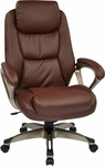 Work Smart Executive Eco Leather Chair with Padded Arms and Cocoa Coated Base - Wine [ECH89181-EC6-FS-OS]