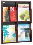 Expose™ Four Magazine Eight Pamphlet Display with Plastic Front Panel - Mahogany [5704MH-FS-SAF]