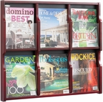 Expose™ Six Magazine Twelve Pamphlet Display with Plastic Front Panel - Mahogany [5703MH-FS-SAF]