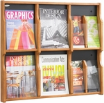Expose™ Six Magazine Twelve Pamphlet Display with Plastic Front Panel - Medium Oak [5703MO-FS-SAF]