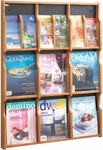 Expose™ Nine Magazine Eighteen Pamphlet Display with Plastic Front Panel - Medium Oak [5702MO-FS-SAF]