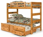 Rustic Style Solid Pine Bunk Bed with Trundle - Extra Long Twin - Honey [3662001-TR-FS-CHEL]
