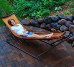 EZ-Cozy Portable Folding Mesh Hammock with Brown Frame - Burnt Orange [4912-FS-ALG]