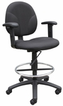 Contoured Seat Fabric Drafting Stool with Foot Ring and Adjustable Arms - Black [B1691-BK-FS-BOSS]