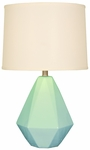Splash Ceramic Faceted 24.75''H Table Lamp with Cream Linen Shade - Aegean [12T275AN-FS-PAS]