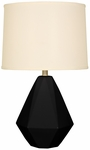Splash Ceramic Faceted 24.75''H Table Lamp with Cream Linen Shade - Black [12T275BK-FS-PAS]