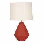 Splash Ceramic Faceted 24.75''H Table Lamp with Cream Linen Shade - Burgundy [12T275BU-FS-PAS]
